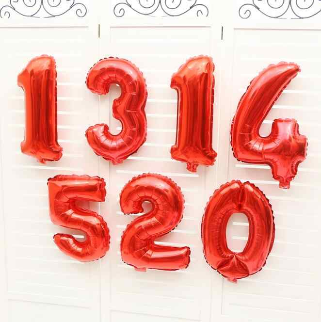 16/32/40 inch Red Black Number Balloon happy birthday foil balloons 0-9 birthday wedding Decoration baby shower party supplies