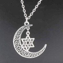 Crescent Moon Long Chain Necklace Alloy Star of David Charms Pendants Necklaces New