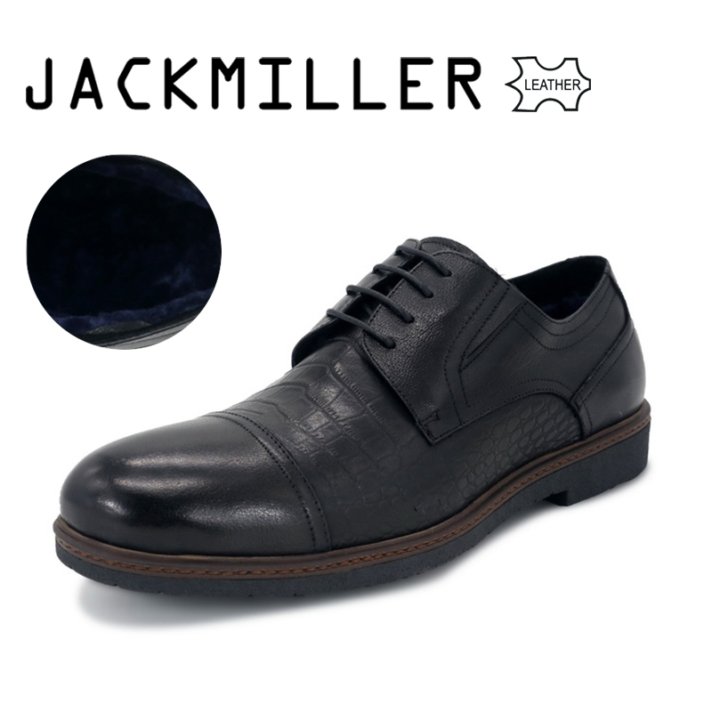 Jackmiller 2018 New Winter Men's Dress Shoes Wool Lining Cow Leather Men Shoes Lace-Up Office Shoes for Man Basic Black Big Size 2017 men s cow leather shoes patent leather dress office wedding party shoes basic style pointed toe lace up eu38 44 size