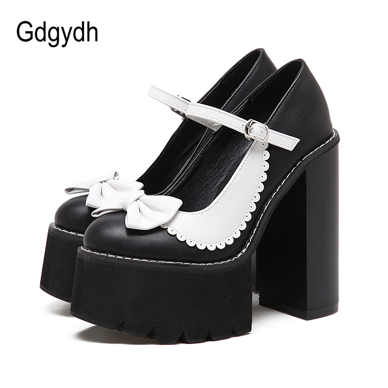 Gdgydh Rome Style Punk Gothic Shoes Women Platform Heels Fashion Bow-knot Ankle Strap Womens Pumps For Party Wedding Drop Ship