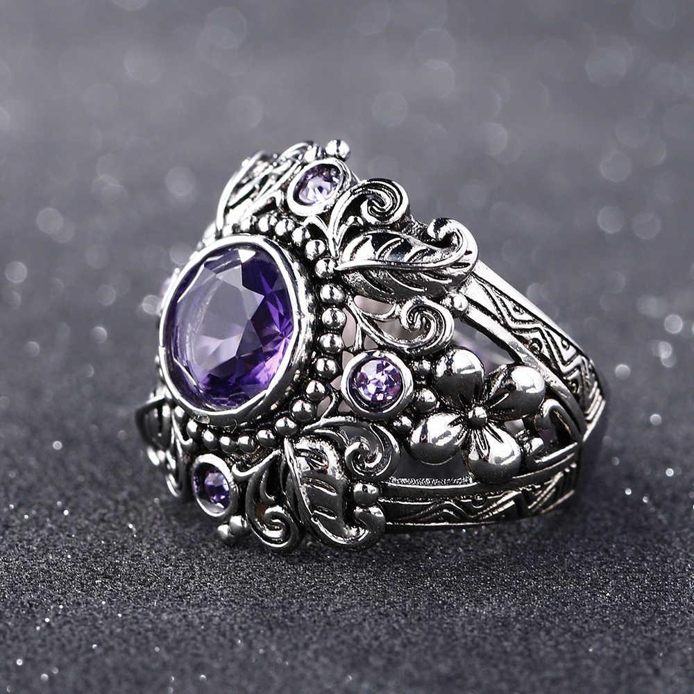 Bague Ringen 2019 Vintage 100% 925 เงินสเตอร์ลิงเครื่องประดับธรรมชาติสีม่วงอเมทิสต์แหวนผู้หญิงผู้ชายของขวัญครบรอบ