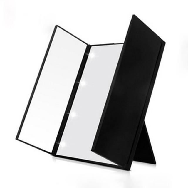 LLEVÓ Espejo de Maquillaje Mesa Plegable 90 Grados Soporte Ajustable Espejo Cosmético Único Triple De La Puerta Diseño de Espejo de Tocador