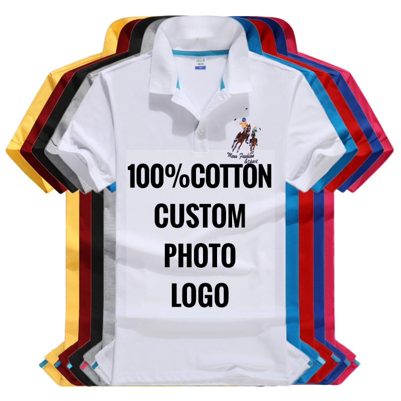 Men's   Polo   Shirts 100% Cotton Short Sleeve Solid 13 Colors Custom Print Picture Logo Text   Polos   Male   Polo   Shirt Tops Plus Size