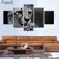 5Pcs Canvas Animal Printing High Quality HD Cheap Price Great Art African Cheetah Pictures Modular Modern