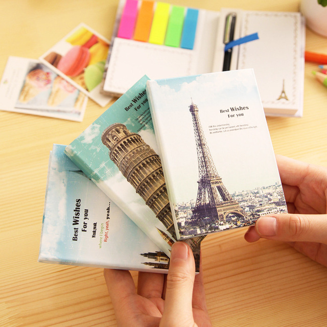 1X World Building Hard Cover Notebook Design Memo Pads School Office Supply Student Stationery Paper Writing