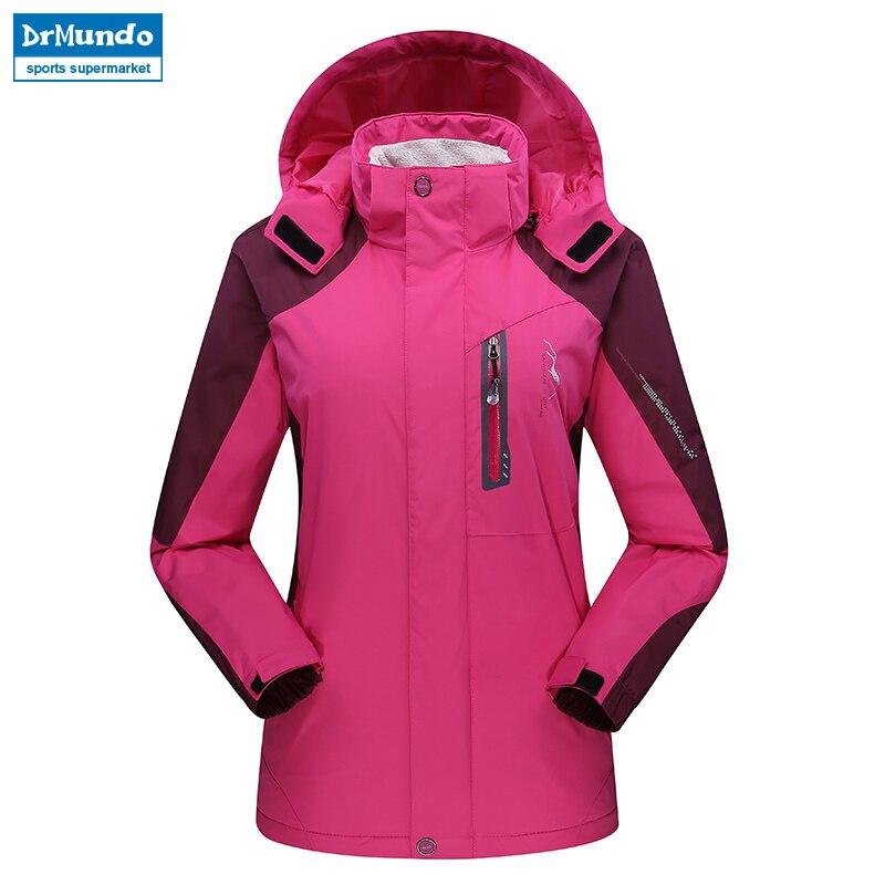 Women ski jacket Mountain Thicken Plus Size Fleece Ski wear Waterproof Hiking Outdoor Snowboard Jacket Windproof