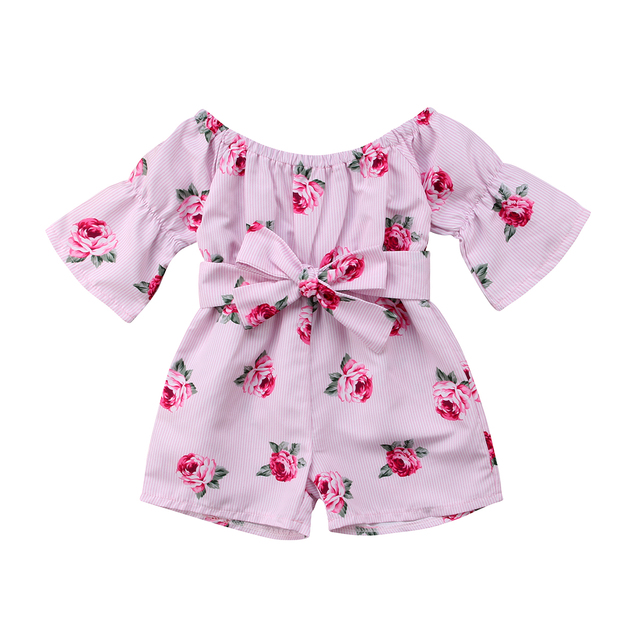 46950d5a654 2018 Summer Hot Kids Toddler Baby Girl Romper Off Shoulder Floral Belt Rompers  Jumpsuit Sunsuit Girls Clothes-in Rompers from Mother   Kids on ...