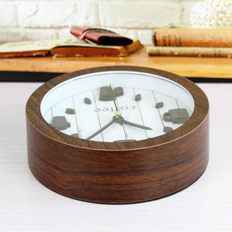 3d Coffee Cup Decorative Small Wood Alarm Clock Creative Antique Table Clock Desktop Home Time Office Clock Home Decor The Latest Fashion Alarm Clocks Clocks