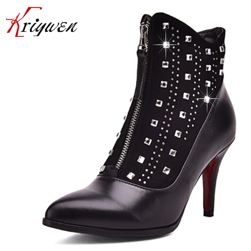 ФОТО Fashion Autumn winter 2017 Women Ankle Boots luxury crystal Women Martin Boots Sexy Vintage thin High Heels party Shoes for lady