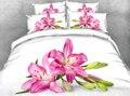 JF-168 Розовый цветок Лилии печати 3D пододеяльник набор кровать цветочный постельные принадлежности