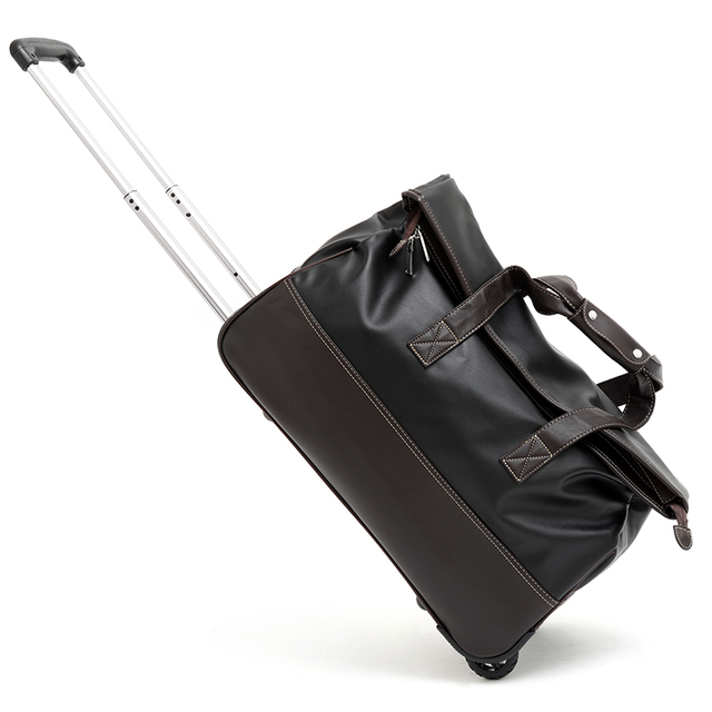 be2ea7b0d0 Unisex PU Trolley Travel Bag on Wheels Waterproof Men s Trolley Luggage  Travel Duffle Bag Handbags Luxury