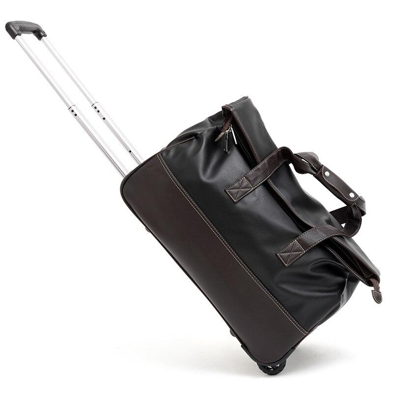 Unisexe PU Trolley sac de voyage sur roues étanche hommes Trolley bagages voyage sac de voyage sacs à main de luxe affaires sacs de vol
