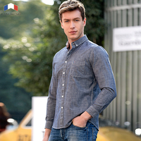 Langmeng 2017 New Arrival Casual Shirts Men Spring Autumn Solid Color 100 Pure Cotton Brand Clothing