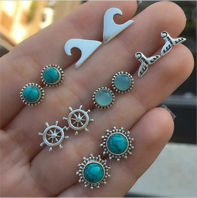 New Boho Shell Turtle Anchor Small Stud Earrings Set For Women Punk Mix Design Geometric Stone Animal Ear Aros Jewelry