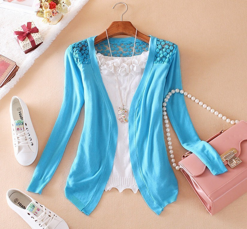 34a0d050018 Spring New Style Summer Autumn Plus Size Jackets Girl Women s Lace Sweet  Candy Color Crochet Knit  5778Aiden