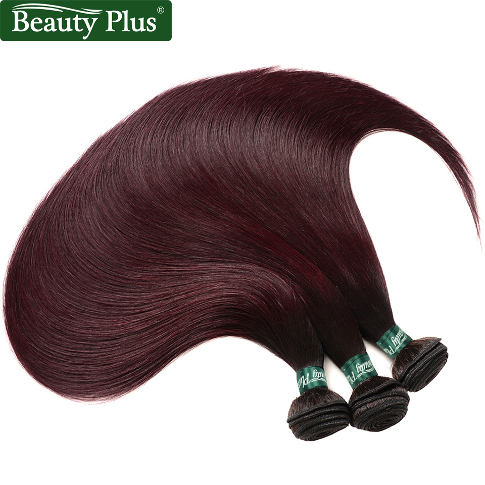 Beauty Plus 1B 99J Straight Human Hair 3 Bundles Ombre Pre-Colored Brazilian Human Hair Dark Roots Wine Red Non-Remy Hair