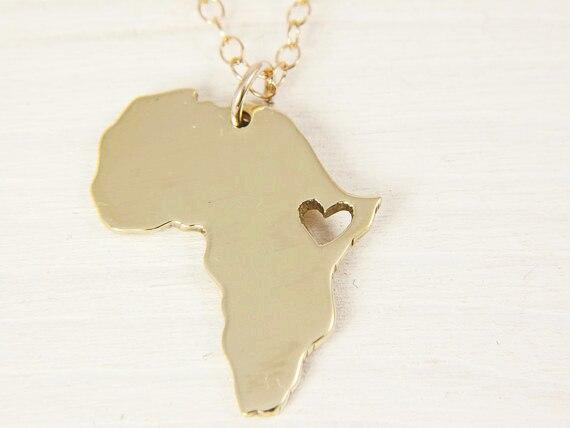 079685926ae7c África mapa colar pingente de ouro prata jóias mulheres homens fillde