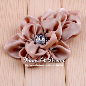 Image 5 - (120pcs/lot) 12 Colors Handmade Soft Lchthyosis Shape Fabric Headband Flower Artificial Wedding Decorative Flowers+Bling Buttons