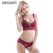 Women's sexy bra set lace underwear adjustable thin cup lingerie set flank wide womens bras and underwear sets