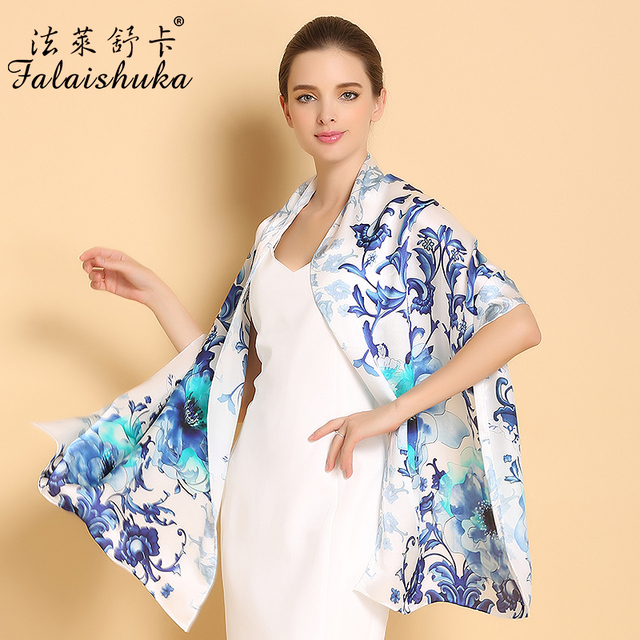 New 2017 Genuine Silk Scarves Female Fashion Oil Painting Printed White Collar 100% Mulberry Silk Scarf Shawls Sunscreen C205