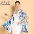 Nuevo 2017 Genuino Pintura Al Óleo Impreso Bufandas de Seda de la Moda Femenina de Cuello Blanco 100% de Mora Chales Bufanda de Seda Protector Solar C205