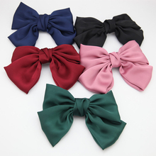New Solid Color Chiffon Ribbon Big Large Barrette Bow Hairpin For Women Girls Satin Trendy Hair Clips Fashion Accessories