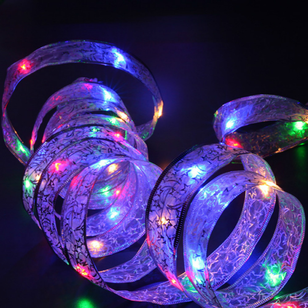 Image 2 - YIYANG 4M 40leds LED Christmas Holiday Light AA Battery Lace Bow Ribbon String Lights Home Garden Party Decoration Lamp Cinta-in LED String from Lights & Lighting on
