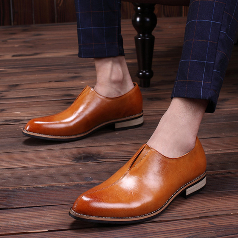 2019 Fashion Business Shoes Men Brogue Shoes Genuine Leather Men Casual Shoes High Quality Brand Male Footwear KA1547