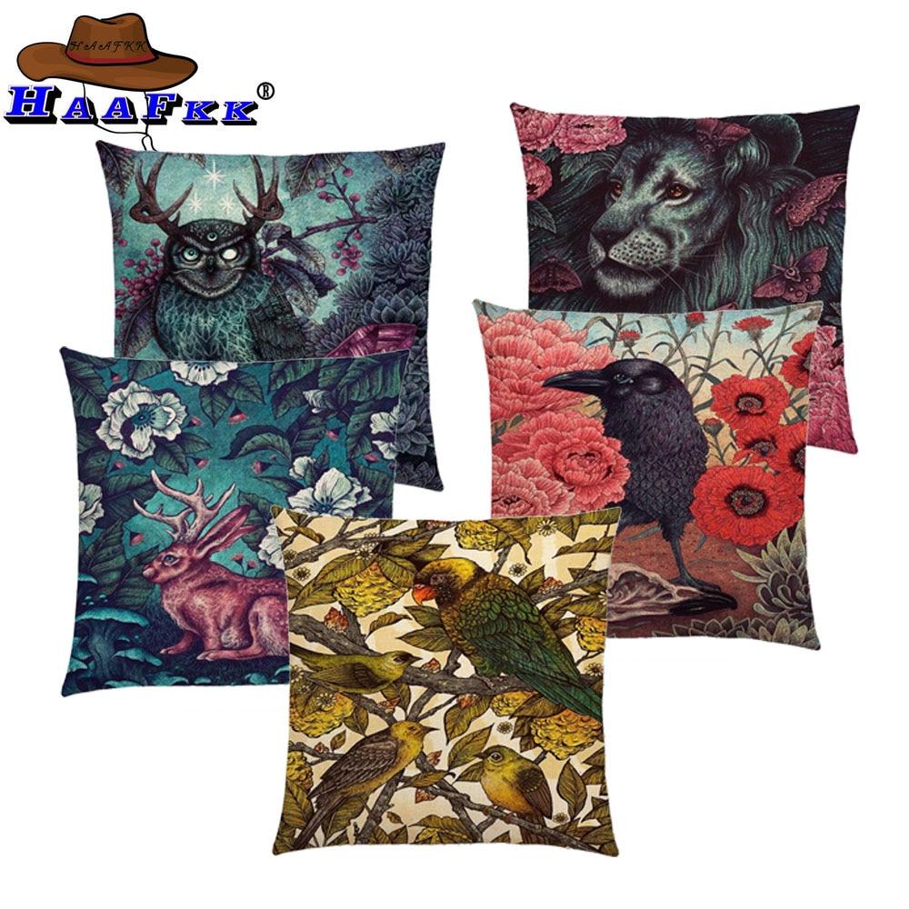 Dark Magic Augury Bird Flowers Three Eyes Raven Steampunk Hummingbird Night Princess Owl Lion Cushion Cover Sofa Pillow Case