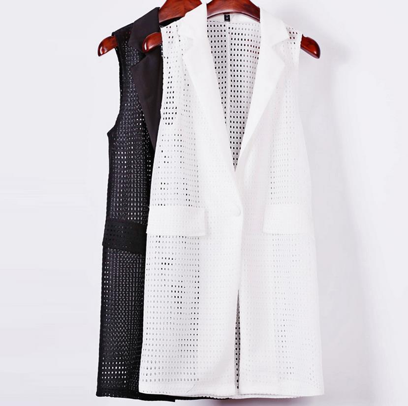 Summer Autumn Hollow Version Casual Suit Solid Color Sleeveless Vest Female Temperament Cardigan Vest Woman Lapel Vest Jacket