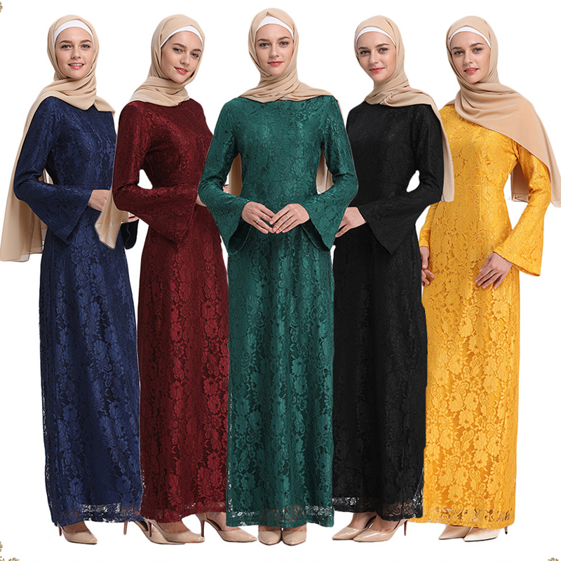 Muslim Arab Dubai  Women/'s Robe Lace Long Dress Saudi Malaysia Jilbab Kaftan
