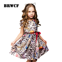 BRWCF Flower Girls Dress For Party Wedding Birthday 2017 Summer Princess Dresses Leopard Printing Children Clothes