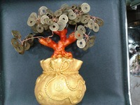 6.29H Feng Shui Lucky Chinese Oriental Japanese Bonsai Coin Money Tree NEW