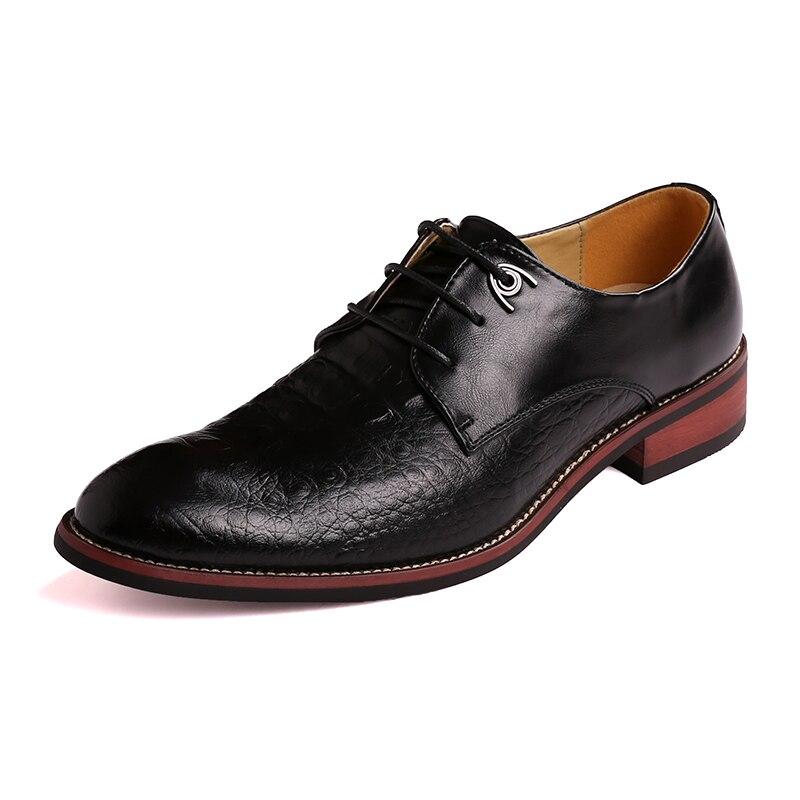 Crocodile en cuir nouveau noir jaune bout pointu affaires chaussures décontractées jeunes hommes marié à lacets robe de mariée chaussures - 5