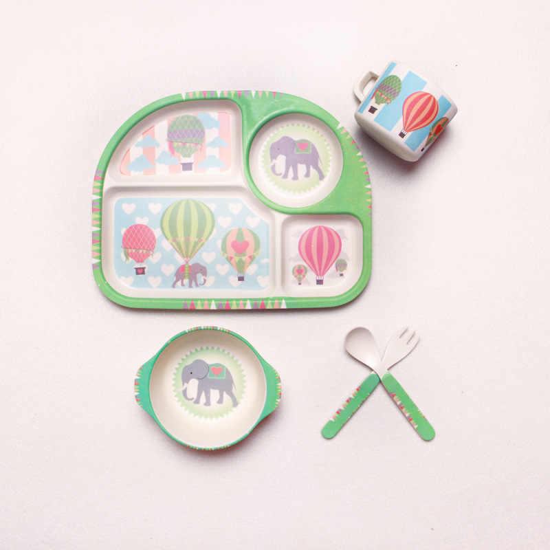 5 pcs/set Bambu Serat Anak Peralatan Makan Set Piring Piring Mangkuk Makan Dengan Cangkir Sendok Garpu Kartun Hewan Anak-anak Makan