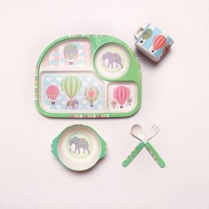 Image 5 - 5pcs/set Bamboo Fiber Children Tableware Set Baby Feeding Plates Dishes Bowl With Cup Fork Spoon Cartoon Animal Kids Dinnerware