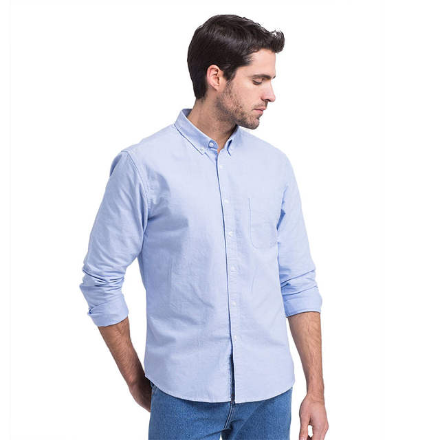 Online Shop Spring Summer 100 Cotton Men Oxford Shirt Long Sleeve