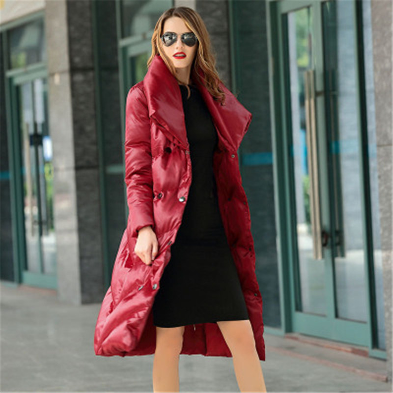 2018 autumn and winter new fashion   down   jacket women's long   coat   winter large size slim thick   down   jacket women's clothing G112