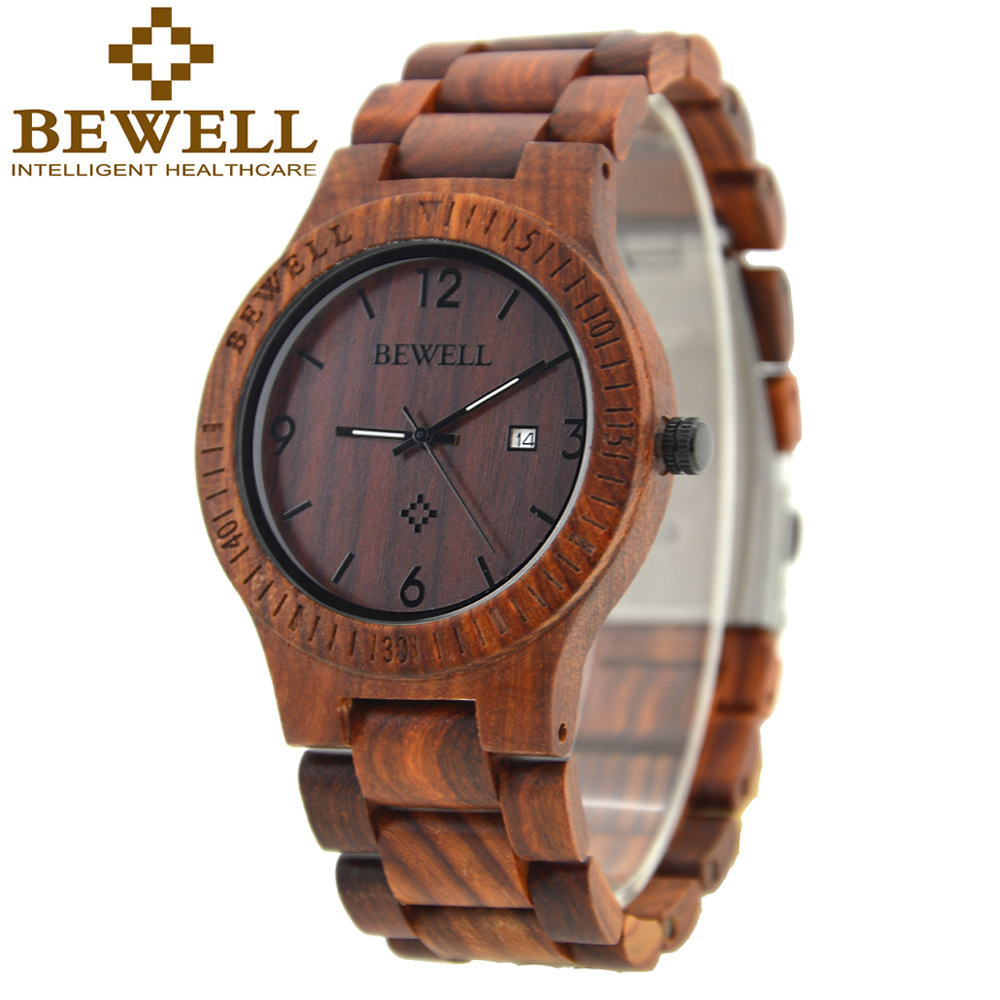 BEWELL Wood Watch Men Simple Mens Watches Top Brand Luxury Relogio Masculino Feminino Calendar Display Watch