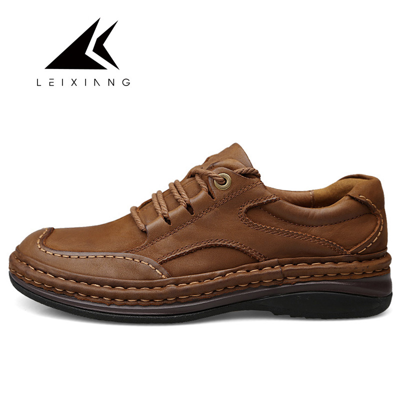 Men Outdoor Shoes Genuine Leather Soft Shoes High Quality Handmade Comfort Man Footwear Nonslip Rubber Brown Size 39-46 hot sale mens italian style flat shoes genuine leather handmade men casual flats top quality oxford shoes men leather shoes