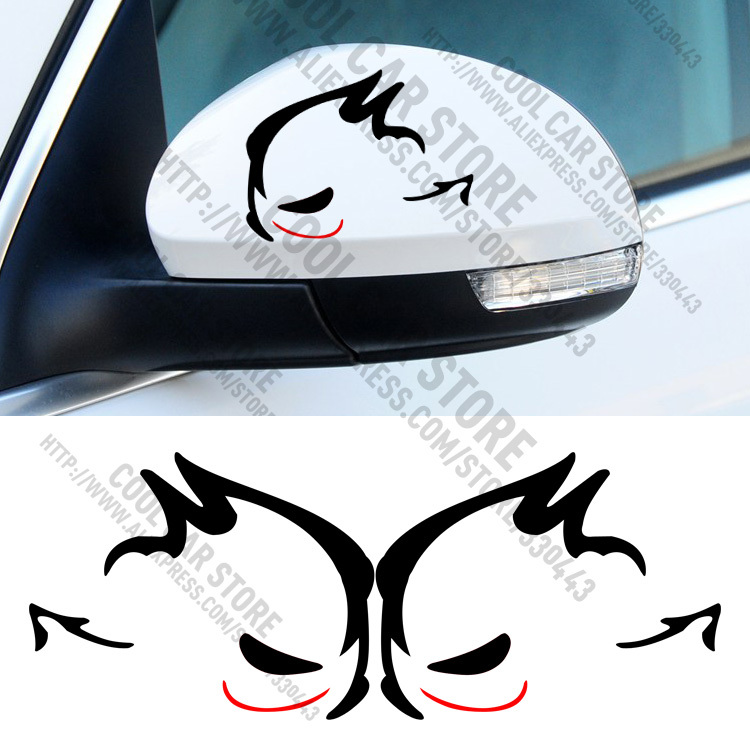12 Pairs Evil Rabbit GTI MTM Rearview Mirror Car Sticker Car Styling for volkswagen VW Beetle polo golf CC Touareg Tiguan Passat
