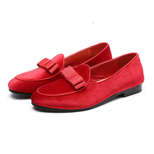2019  Newest Men Bowknot Suede Loafers Wedding Dress Male Flats Gentlemen Casual Slip on Leather Shoes Formal 37-48