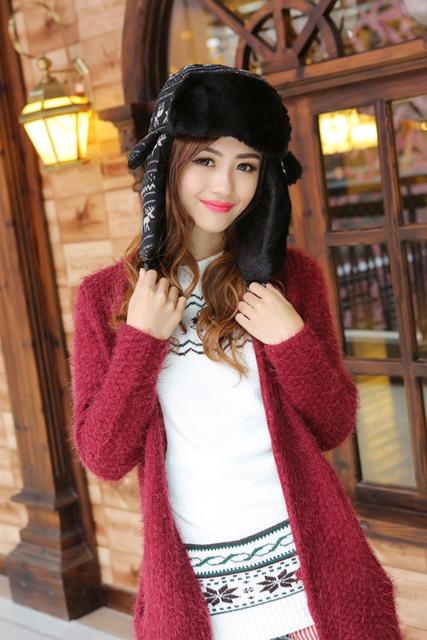 5 unids/lote Cervatillo Ciervos Impresión Felpa Moda de Piel Ruso Negro Orejeras de Invierno Sombreros Gorras Sombreros de Las Señoras Mujeres de La Manera 2015 Al Por Mayor