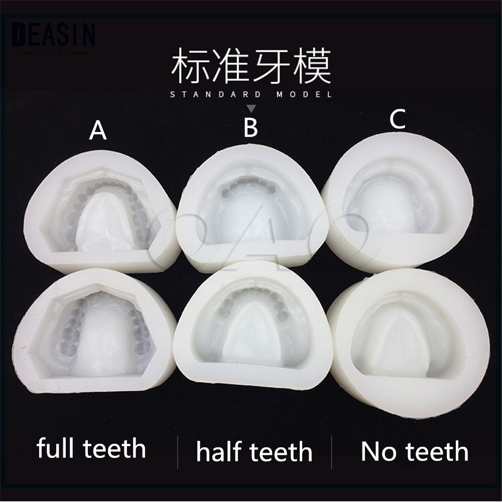 3 SET 2pc/set Dental Plaster Model Mold Mould of Edentulous Jaw Complete Cavity Block Dental Plaster Mold Full teeth hot teeth development models teeth and jaw development model dental teeth models