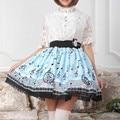 2016 nuevas Mujeres Del Verano Nota Musical Impresión Lolita Sky Blue plisada Falda de Encaje Princesa Linda Sweet Girls Pretty Falda Alta calidad