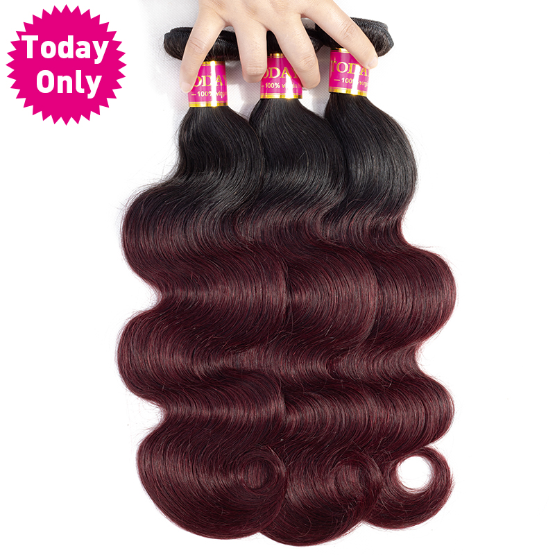 TODAY ONLY Burgundy Brazilian Body Wave Bundles Ombre Brazilian Hair Weave Bundles Ombre Human Hair Extensions Remy 1b 99J Hair