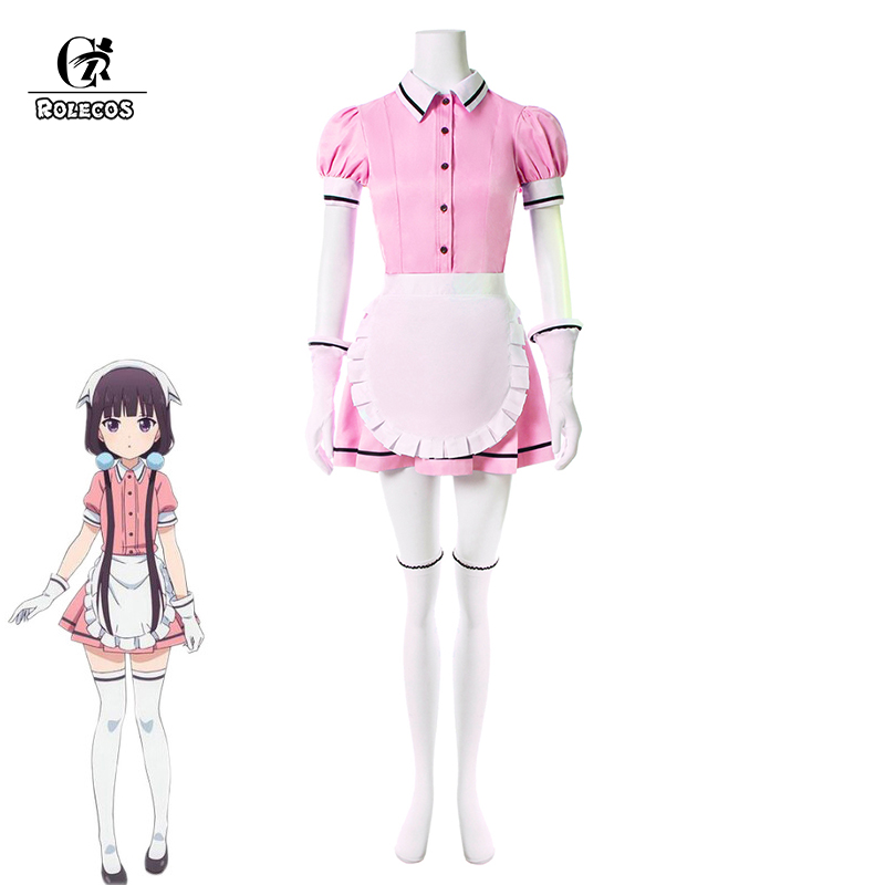 ROLECOS Japanese Anime Blend S Cosplay Costume Sakuranomiya Maika Stile Cafe Sadistic Maid Uniform Women Cosplay Costume Full