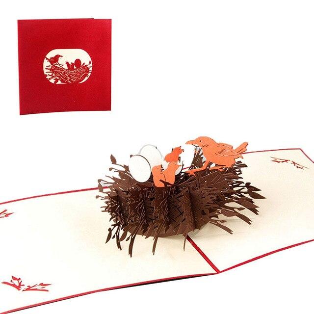 3d Pop Up Wenskaarten Vogel Verjaardag Thanksgiving Liefde Voor