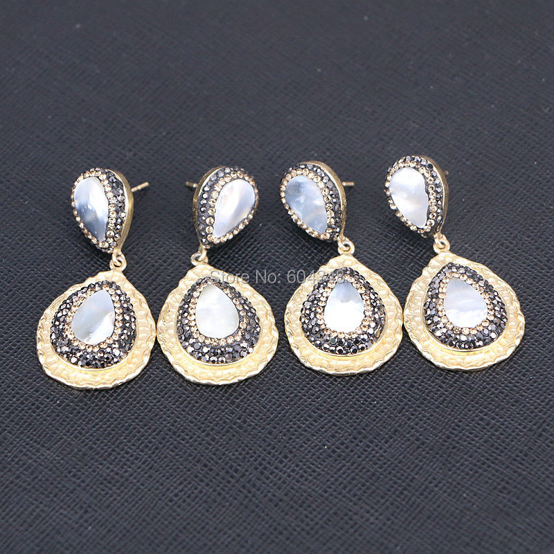5Pairs Zyunz Jewelry Teardrop earrings gold color pave rhinestone mother of pearl shell earrings fashion jewelry