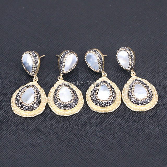 40d96f535 5Pairs Zyunz Jewelry Teardrop earrings gold color pave rhinestone mother of pearl  shell earrings fashion jewelry
